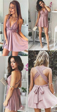 Sexy Dusty Pink Mini Homecoming Dress,Simple Short Party Prom Dress,GDC1095