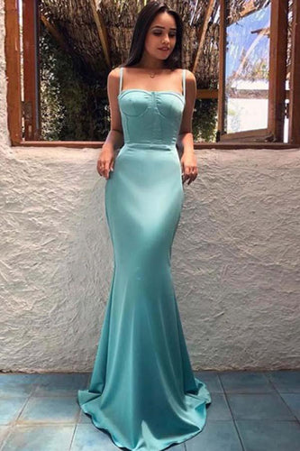Sheath Spaghetti Straps Long Blue Evening Dress,Prom Dress,GDC1214