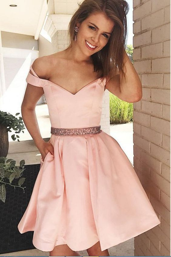 Shop Cute Blush Pink Off Shoulders Short Prom Dress with Beading Waist,GDC1323