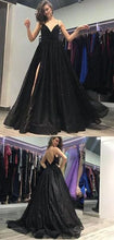 Shop Dazzling Black Spaghetti Straps Long Side Slit Prom Dress,8TH Grade Formal Gown,GDC1283