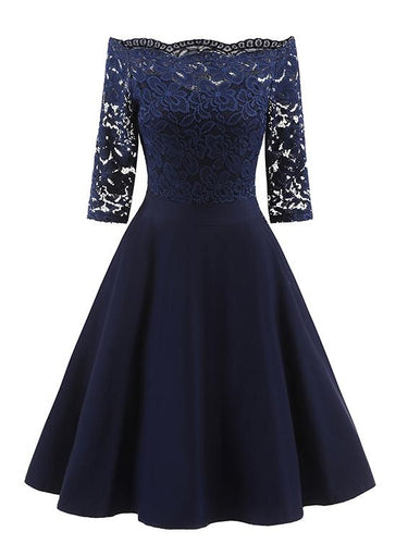 Navy Blue Short Bridesmaid Dresses Blue Off the Shoulder Lace homecoming Dress with Sleeves,1597N-Dolly Gown