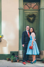 Short Blue Polka Dot Wedding Dress with 3/4 Sleeves,Vintage Tea Length Wedding Dress,20110943
