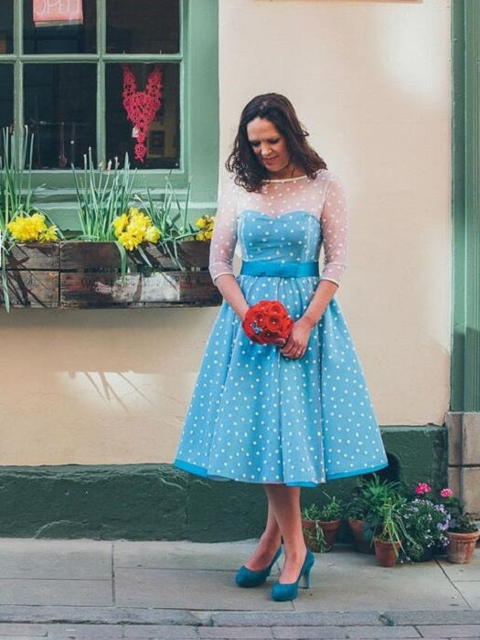 Short Blue Polka Dot Wedding Dress with 3/4 SleevesTea Length Short Vintage Wedding Dress,20110943-Dolly Gown