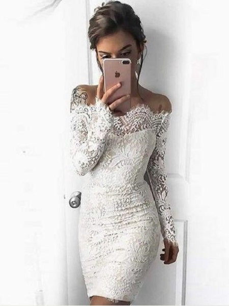 Short Off The Shoulder Lace Tight Bodycon White Prom Dress with Long Sleeves,20081626