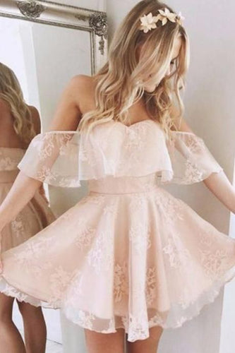 Short Pearl Pink Off-Shoulder Lace Homecoming Dress, 8th Grade Grauduation Dance Dress,201707201