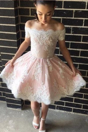 Short Pink Prom Dress Off Shoulders Prom Dress Lace Prom Dress Short Homecoming Dress,MA189