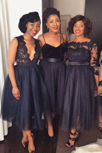 Stylish Short Black Mismatched Lace Bridesmaid Dresses Brautjungfernkleider,GDC1029