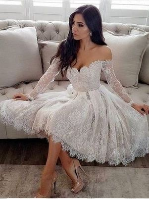 Short Lace Off Shoulder Wedding Dress,Short Prom Dress with Sleeves,GDC1159