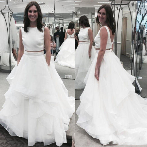 Simple Bateau Neck Two Piece Wedding Dress Affordable Bridal Separates under $200