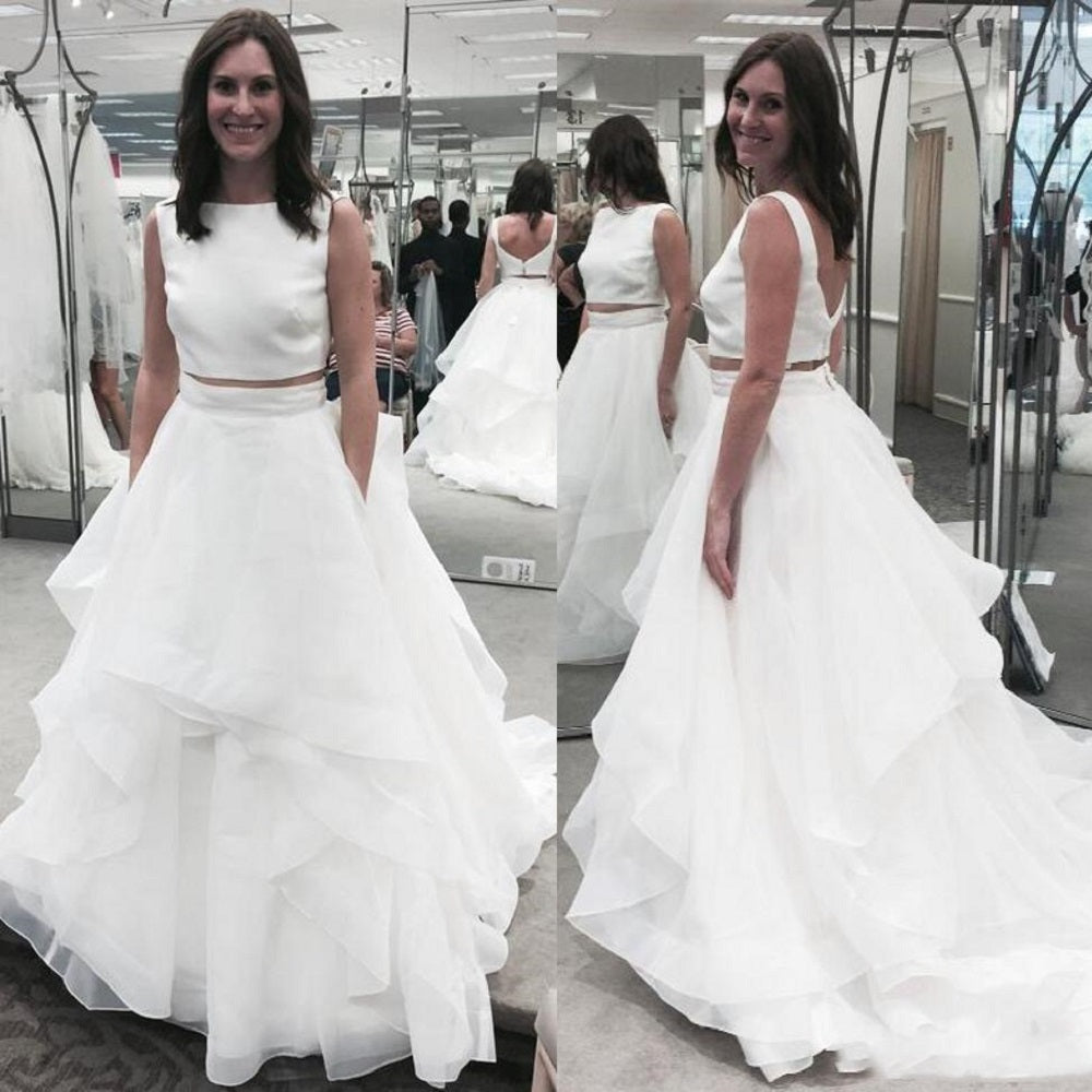 Simple Bateau Neck Two Piece Wedding Dress.Affordable Bridal Separates under $200