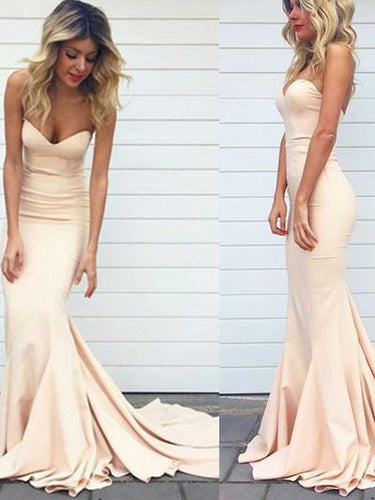 Simple Beige Bridesmaid Dresses Neutral Bridesmaid Dresses Beige Tight Mermaid Prom Dress Fs035