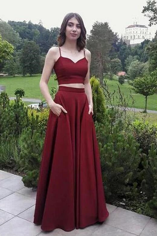 Simple Burgundy Two Piece Spaghetti Straps Long Prom Dress with Pockets,20082023