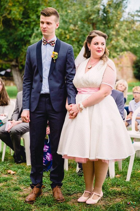 Simple Country Style Weddingg Dress,Short Wedding Dress,Polka Dot Wedding Dress,50s Style Wedding Dress,20110226