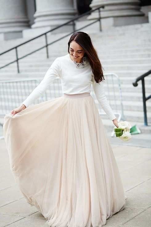 Simple Unique Long Sleeves Two Piece Wedding Dress with Nude Tulle Skirt,20082349