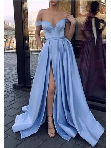 Simple Blue Satin Off Shoulders Side Slit Prom Dress Graduation Occasion Dress ,GDC1166