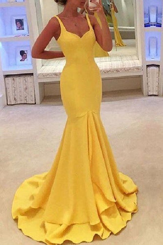 Simple Bodycon Yellow Trumpet Long Senor Graduation Prom Dress,GDC1148