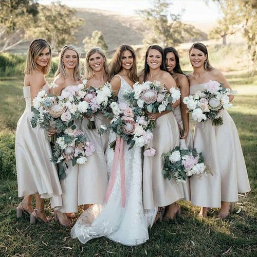 Simple Dusty Strapless Tea Length Bridesmaid Dresses,GDC1064