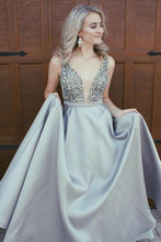 Sparkly Beading Plunge V neck Royal Blue A-line Formal School Prom Dress,GDC1255