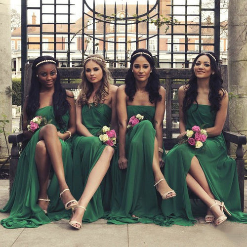 Strapless Emerald Green Bridesmaid Dress with Side Slit Flowing Chiffon Bridesmaid Dress Sleeveless Summer Bridesmaid Dresses,01012773