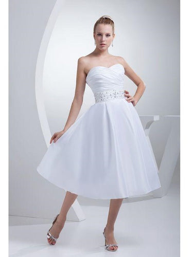 Strapless Short A-line Tea Length Wedding Dress with beading waist panel.20082019