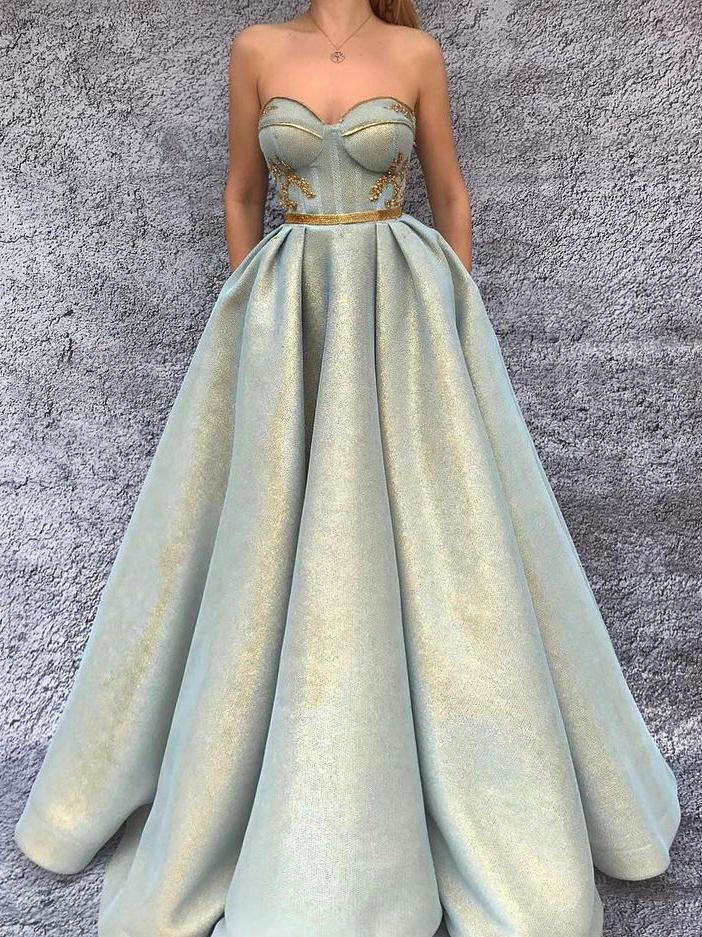 Strapless Bra Bust Long Ball Gown Prom Dress,Formal Occasion Dress,GDC1116
