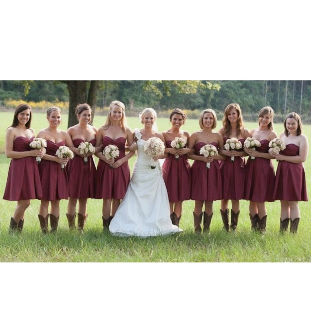 Strapless Rustic Country Short Bridesmaid Dresses with Cowboy Boots,GDC1500