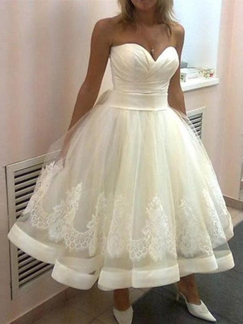 Strapless Sweetheart A-line 50s Style Tea Length Wedding Dresses with Satin Binding Hemline,GDC1519