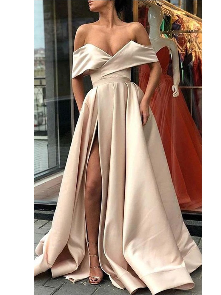 Stylish Champagne Off Shoulder Satin Side Slit Prom Dress Senior 8th Grade Prom Gown,GDC1183
