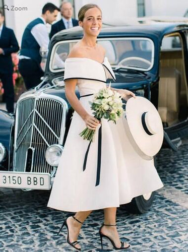Stylish Vintage Inspired Off Shoulder Tea Length Wedding Dress with Satin Binding Shawl Collar,GDC1110