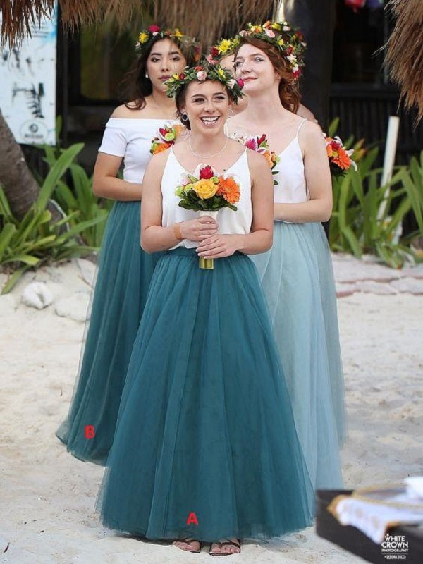 Casual Beach Tulle Summer Beach Two Piece Bridesmaids Sets,Boho Two Piece Long Bridesmaid Dresses,20081804