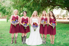 Summer Burgundy Spaghetti Strapless Short Bridesmaid Dresses with Cowgirl Boots,20081831