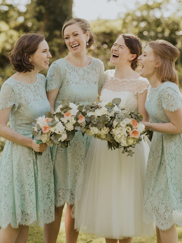 Summer Mint Lace Country Style Rustic Cap Sleeves Short Bridesmaid Dress,20081402