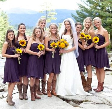 Summer Purple Short Chiffon Ruffled Hemline Bridesmaid Dresses with Boots,20082008