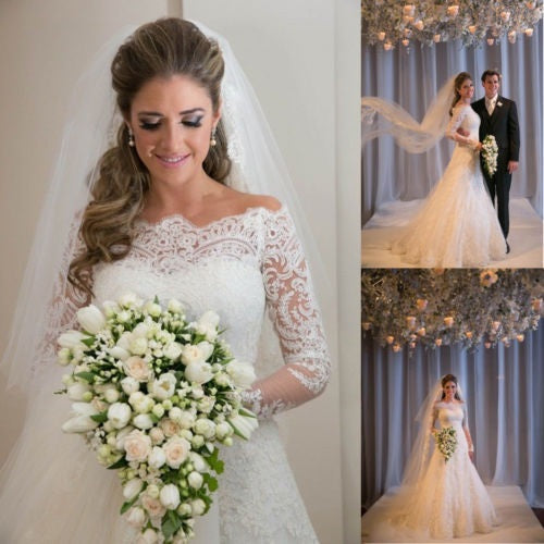 Sweet Off Shoulder Lace Sheath Wedding Dress with Sleeves,GDC1198