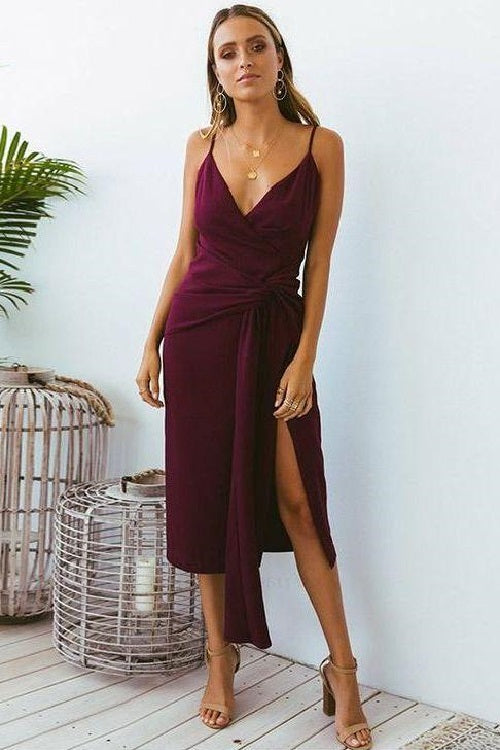 Tea Length Sheath Burgundy Summer Semi Formal Dress,Prom Dress,GDC1319