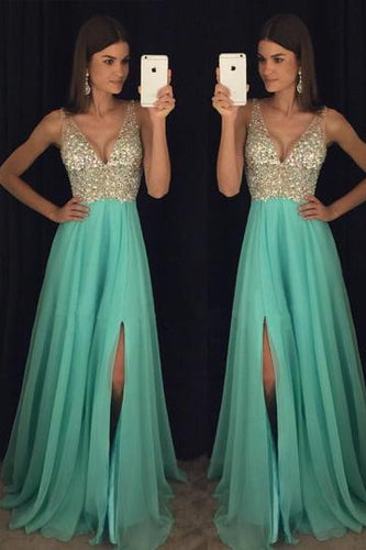 Teal Dazzling Beading Side Slit Prom Dress, A-line Graduation Dress,GDC1223