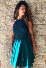 Teal Green Halter Lace Top Short Mini Prom Dress,Sweet 16 Dress,GDC1309