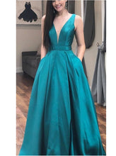 Teal Long Plunge V neck Prom Dress with Bows Back Occasion Formal Dress,GDC1298