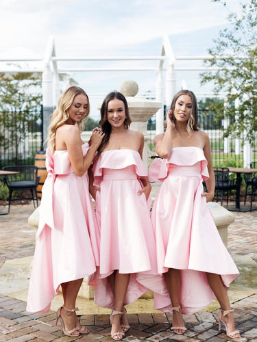 Trending Strapless Hi-Lo Pink Bridesmaid Dresses with Chic Bow Back,GDC1002