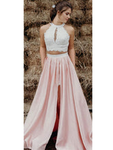 Trendy Contrast Color Two Piece Lace Top Long Prom Dress with side Slit and Pockets,20081909