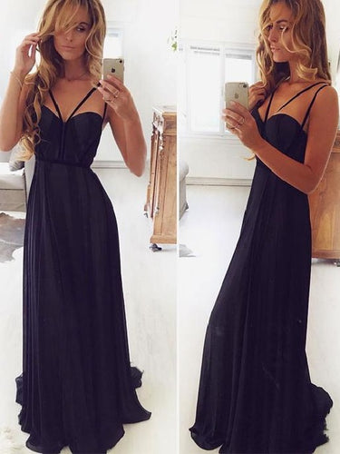 Trendy Flowy Navy Blue Long Chiffon A-line Prom Dress,20082015
