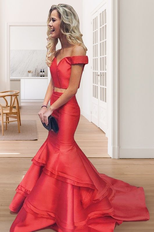 Trendy Off the Shoulder Red Mermaid Two Piece Long Bodycon Prom Dress,20081910