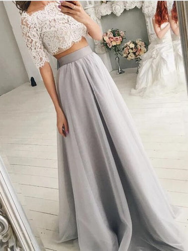 Trendy Off the Shoulder Lace Crop Top Bridal Separates with Grey Tulle Skirt,20082556