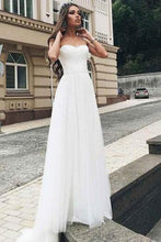 Shop Tulle Elegant Floor Length Strapless Wedding Dress,Country Rustic Wedding Dress,GDC1337
