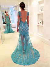 Turquoise Prom Formal Dress Lace Prom Dress Mermaid Prom Dress Backless Prom Fress,MA183