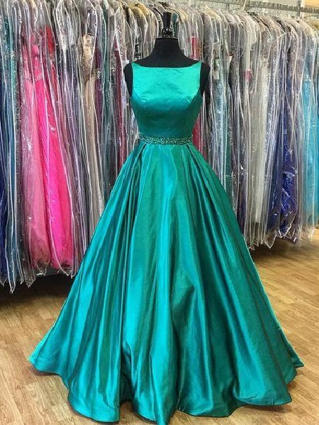 Turquoise Vintage Prom Dress Ball Gown Prom Dress Modest Prom Dress,MA173