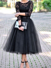 Two Piece Tulle Skirt Bridesmaid Dresses Black Tea Length Bridesmaid Dresses with Sleeves Black Prom Dress,FS081