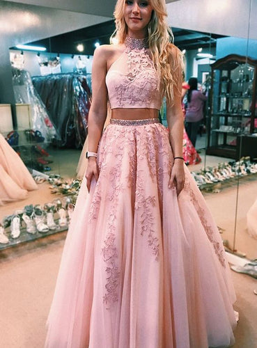 Two Piece 2019 Rose Pink Grade 8 Grad Dresses Prom Dress Ball Gown ,GDC1009
