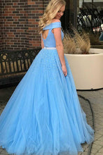 Two Piece Blue Off Shoulders Tulle Skirt Long Graduation Dress Prom Dress,GDC1277