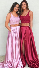 Cute Long Side Slit Two Piece Occasion Graduation Red Prom Dress Sweet 16 Dress,GDC1106-Dolly Gown